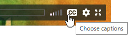 Graphic showing the Closed Captions button on the video player