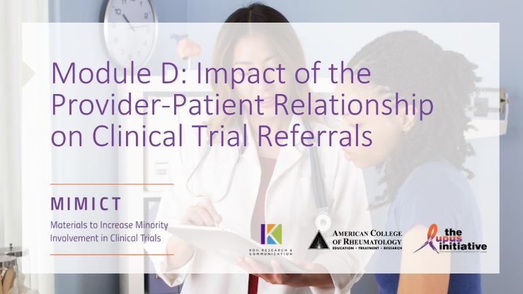 Module D: Impact of the Provider-Patient Relationship on Clinical Trial Referrals